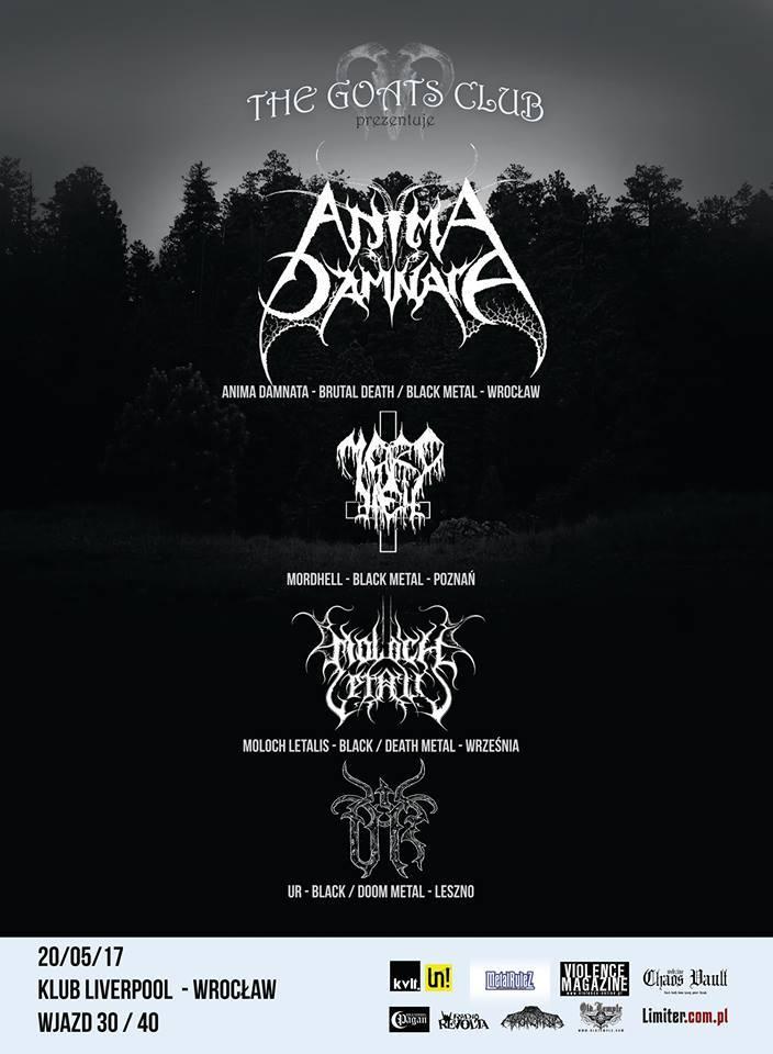 Anima Damnata / Mordhell / Moloch Letalis / UR we Wrocławiu