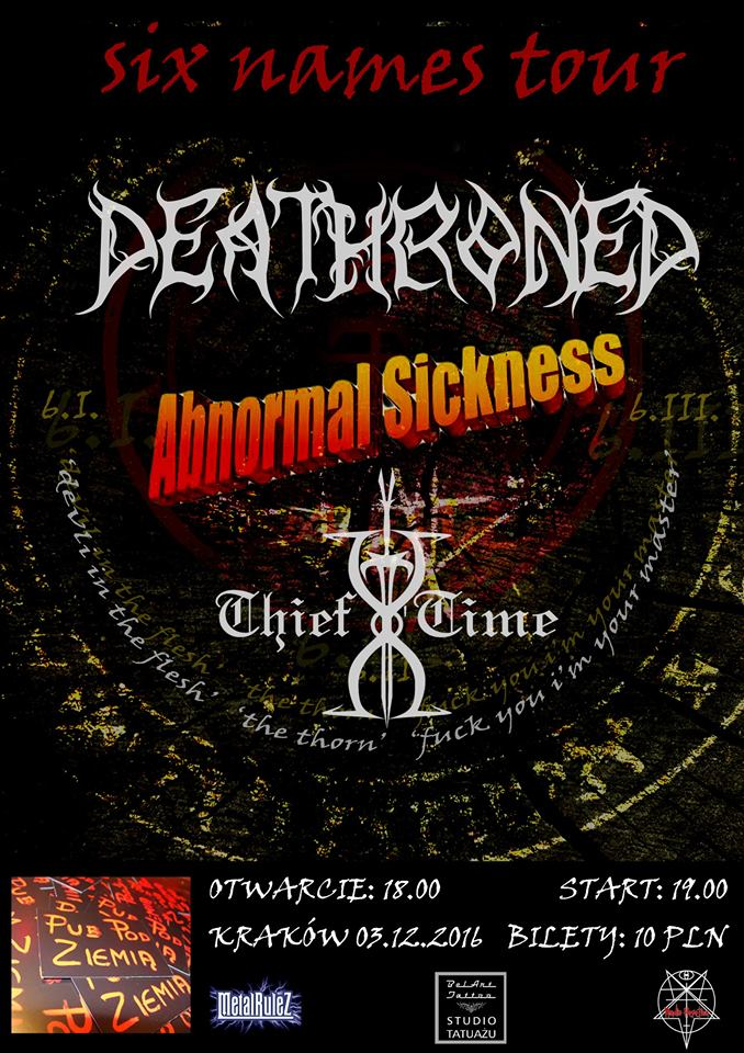 Six Names Tour w Krakowie – Deathroned, Abnormal Sickness, Thief of Time