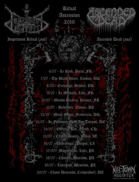 IMPETUOUS RITUAL i ASCENDED DEAD na trzech koncertach w Polsce
